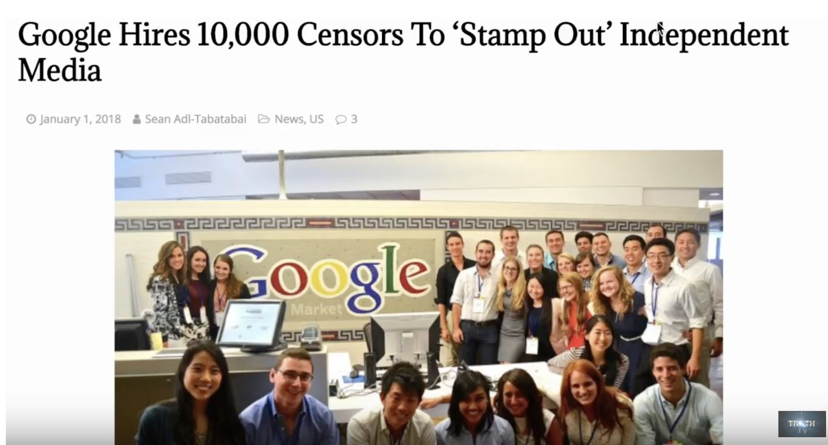 """Google Hires 10,000 Censors To """"Stamp Out"""" Independent Media"""