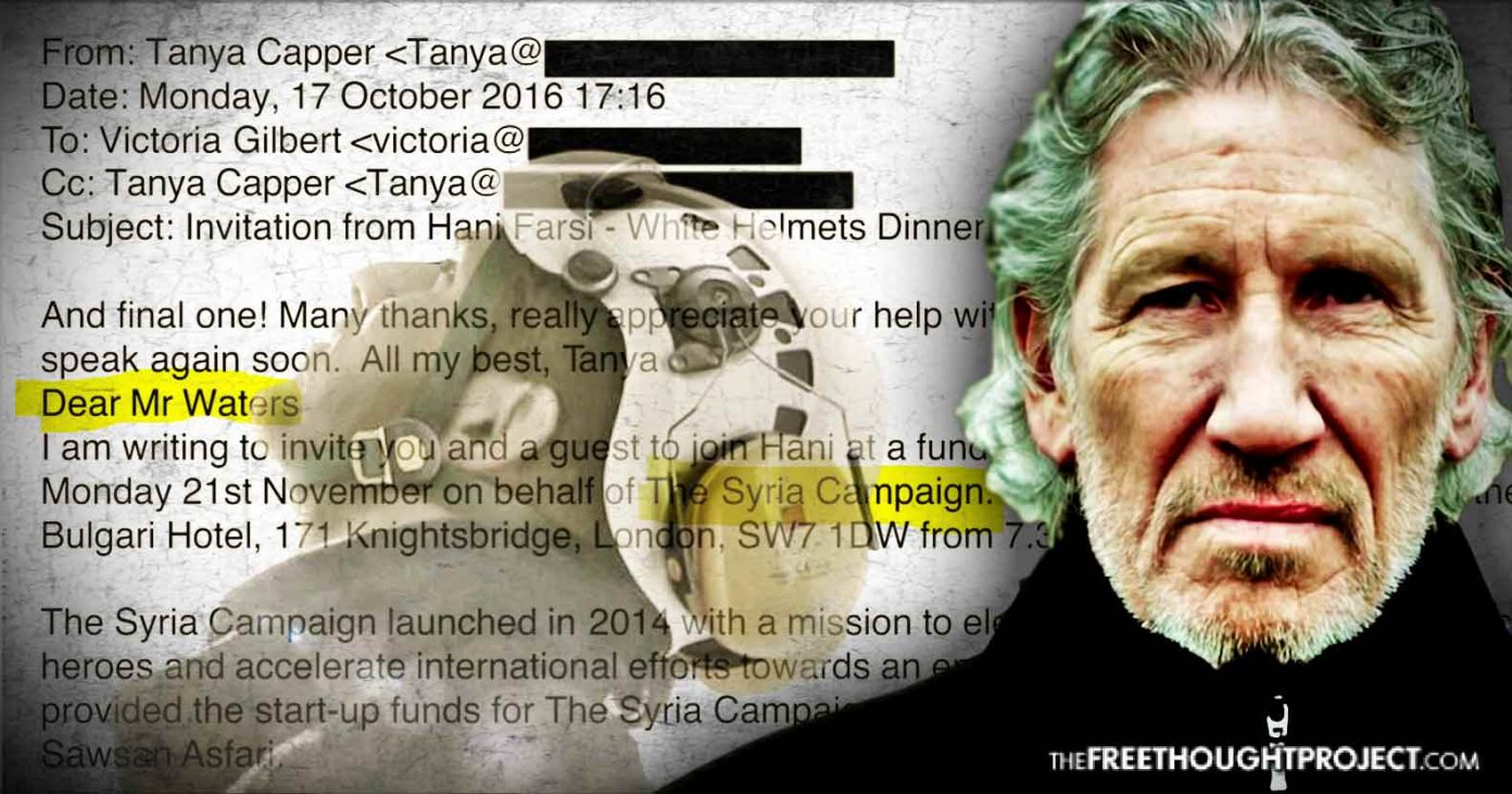 Pink Floyd Frontman Leaks Email Exposing How White Helmets Recruit Celebs With Saudi Money