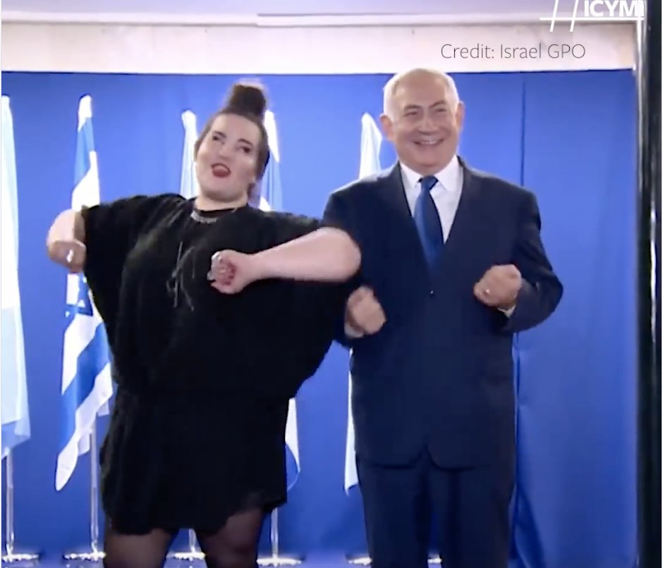 TERRORIST Netanyahu does chicken dance because he's a….CHICKEN and did…9/11!