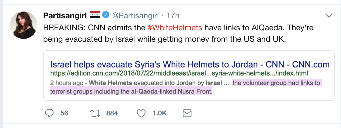 BREAKING: CNN admits the #WhiteHelmets have links to AlQaeda. They're being evacuated by Israel while getting money from the US and UK.