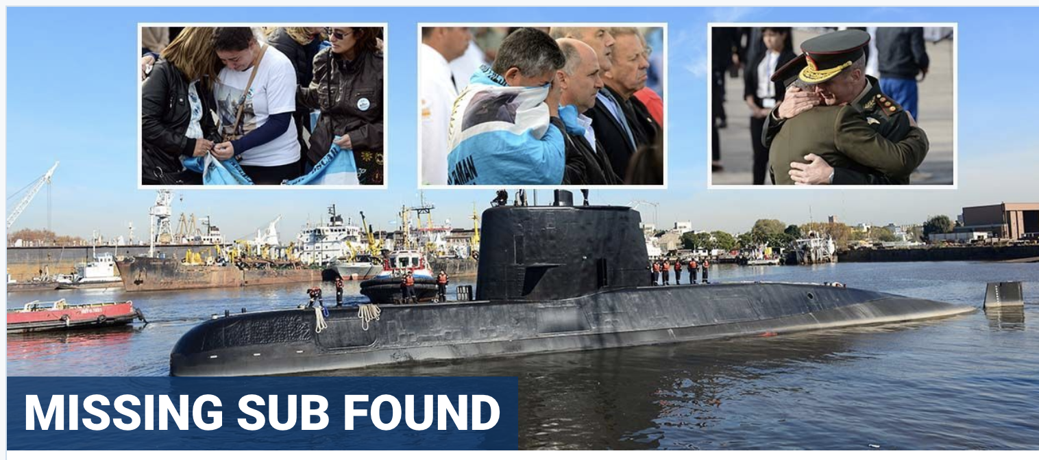 Argentine navy vessel found 2,600 feet down a year after vanishing with 44 aboard