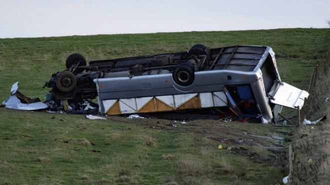 One dead and 23 hurt in minibus crash in Scottish Borders