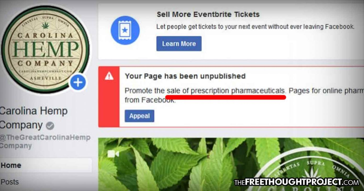 As Hemp Legalized, Facebook Now Banning Hemp Pages in Apparent Move to Protect Big Pharma