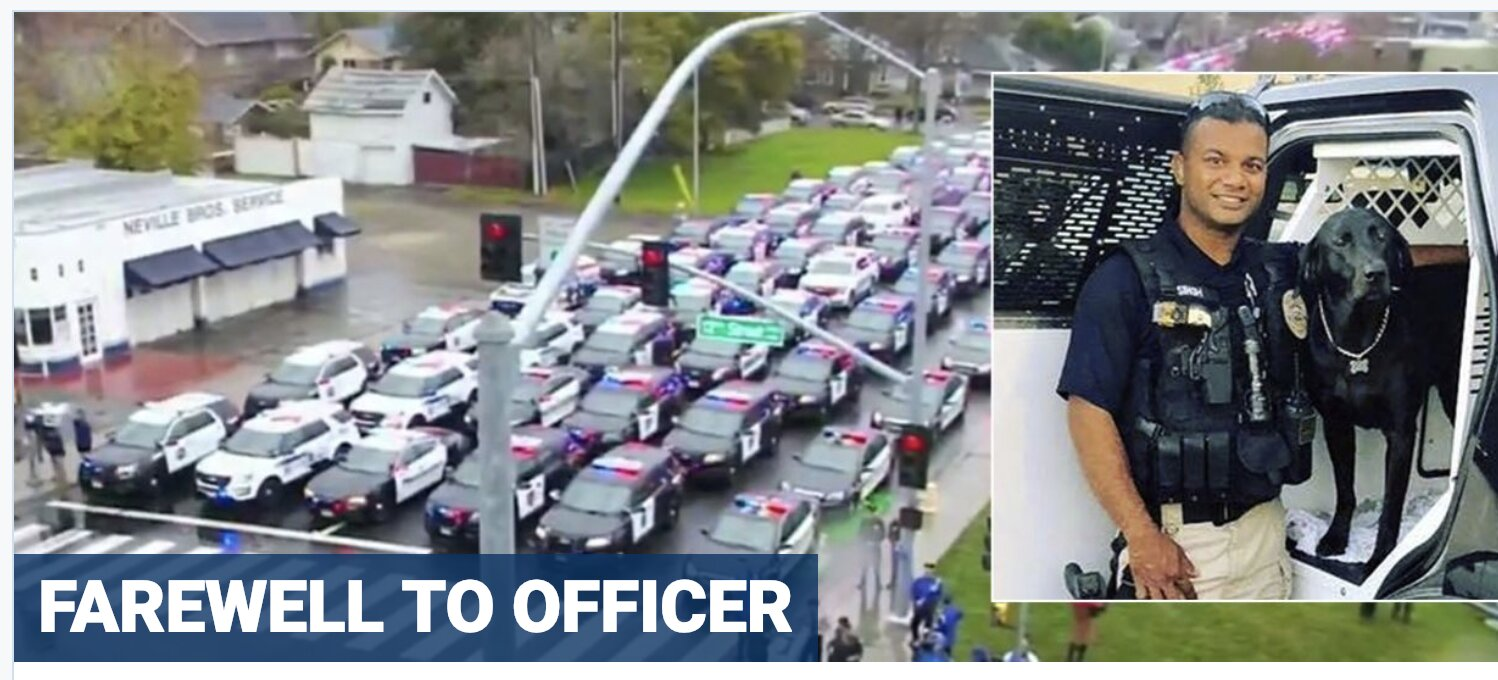 Hundreds pay tribute to California cop who was gunned down after stopping an illegal immigrant