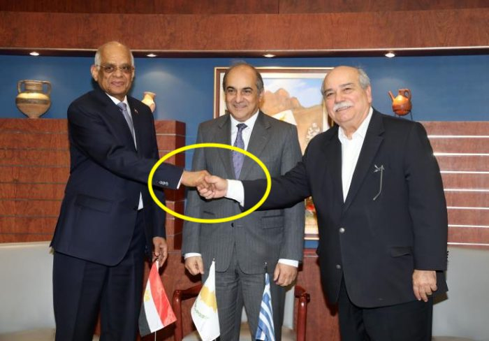 Greek, Cypriot and Egyptian Speakers Hold First Trilateral Meeting. Do the Freemasonic handshake!