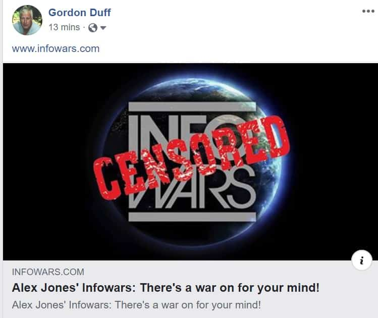 Fake: InfoWars Alive and Well on Facebook After Fake Ban