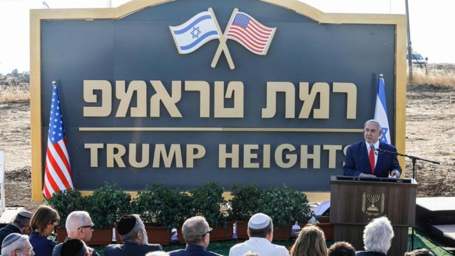 PURE FILTH: Golan Heights: Israel unveils 'Trump Heights' settlement