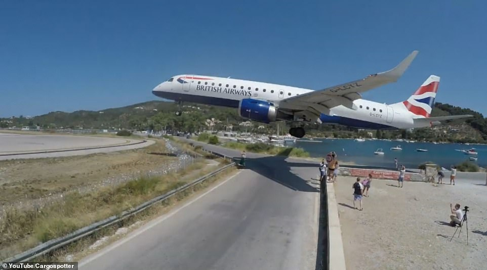 British Airways flight makes scary landing few feet from tourists in Greece. Watch terrifying video