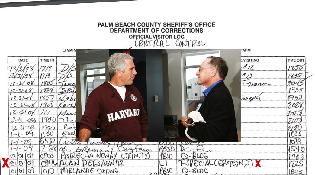 Visitor logs show #AlanDershowitz visiting #JeffreyEpstein in jail risking his reputation with this convicted child rapist….
