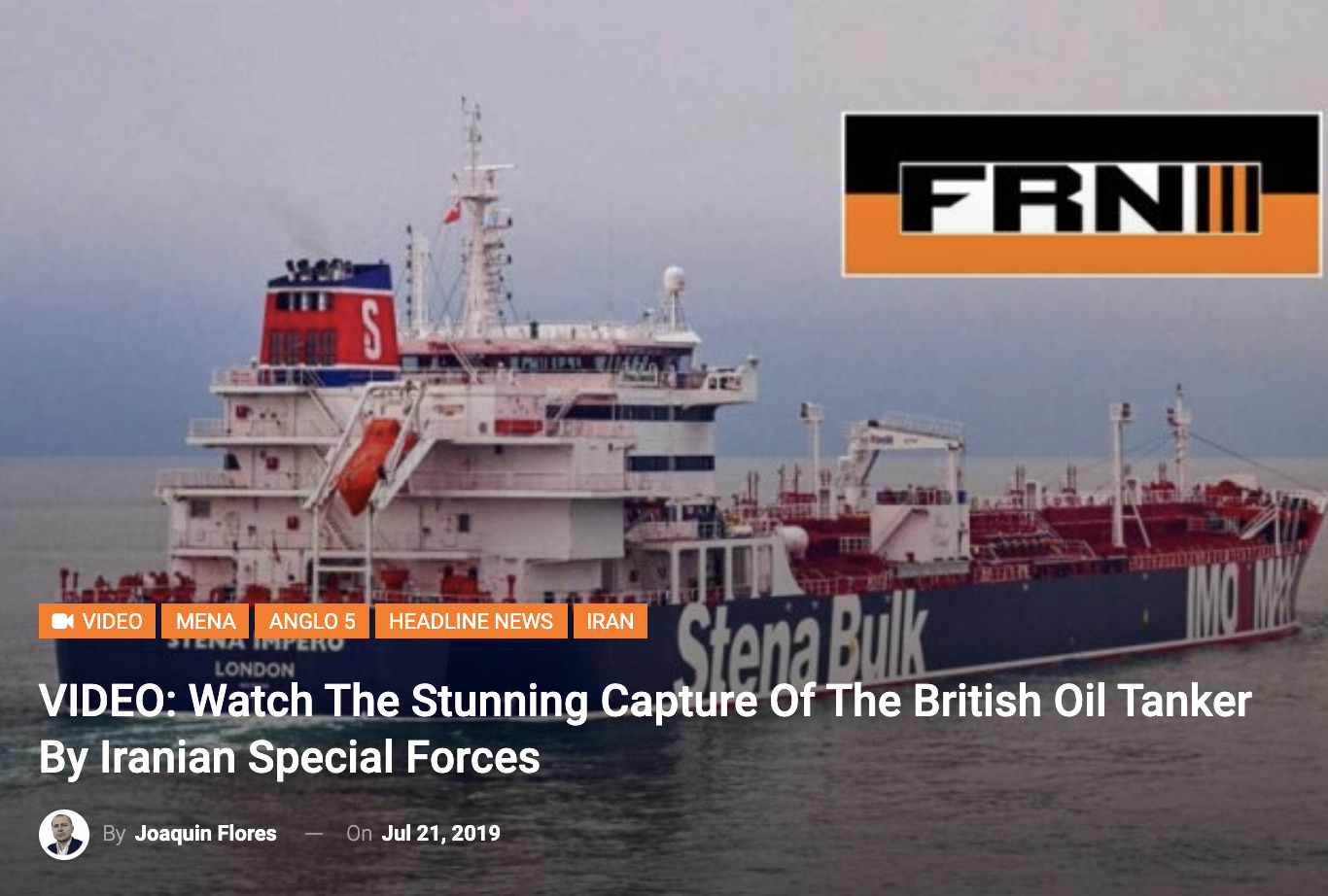 VIDEO: Watch The Stunning Capture Of The British Oil Tanker By Iranian Special Forces