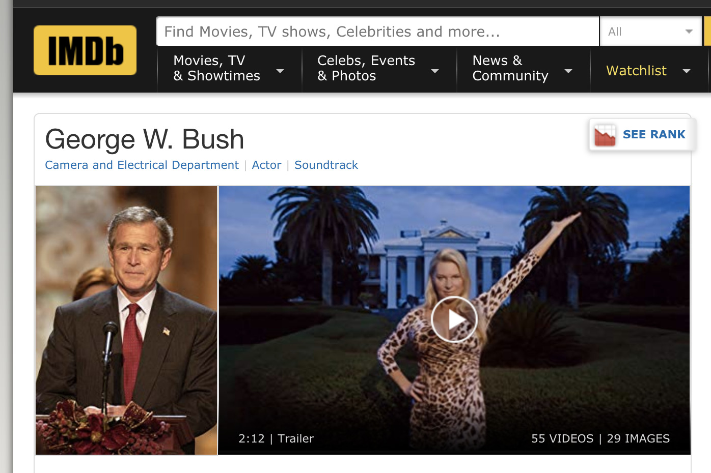 SHOCK: US Presidents are listed as…ACTORS on the website IMDb which is meant for actors, etc.!!!
