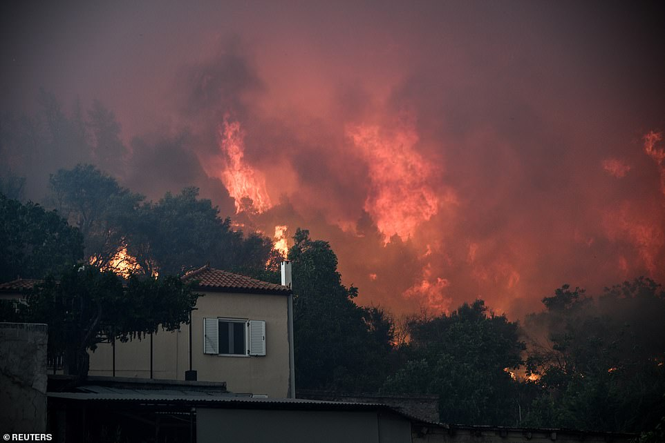 AS FIRES RAGE IN GREECE, RESIDENTS FORCE TO EVACUATE VILLAGES