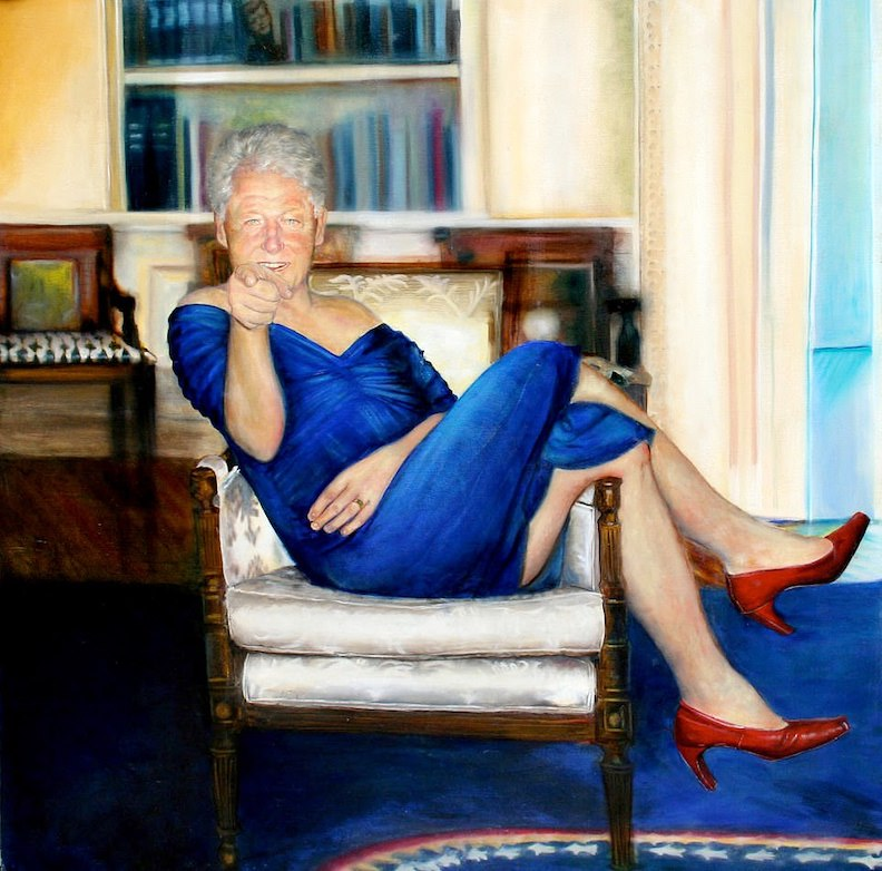 EXCLUSIVE: Jeffrey Epstein had a painting of Bill Clinton wearing a blue DRESS and red heels and lounging in the Oval Office inside his Manhattan mansion
