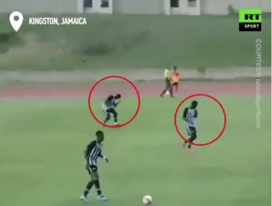 Two Jamaican college footballers were rushed to hospital after getting struck by lightning!