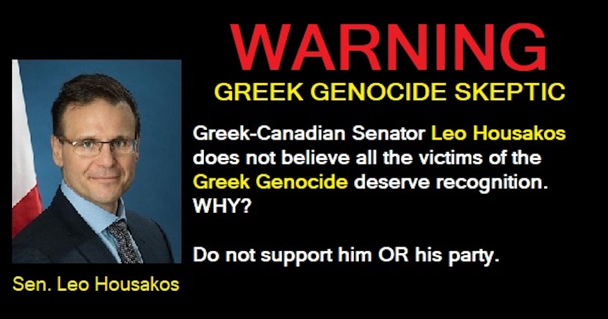 Greek-Canadian Senator Leo Housakos in favor of Greek genocide exclusion / #CanadianElections