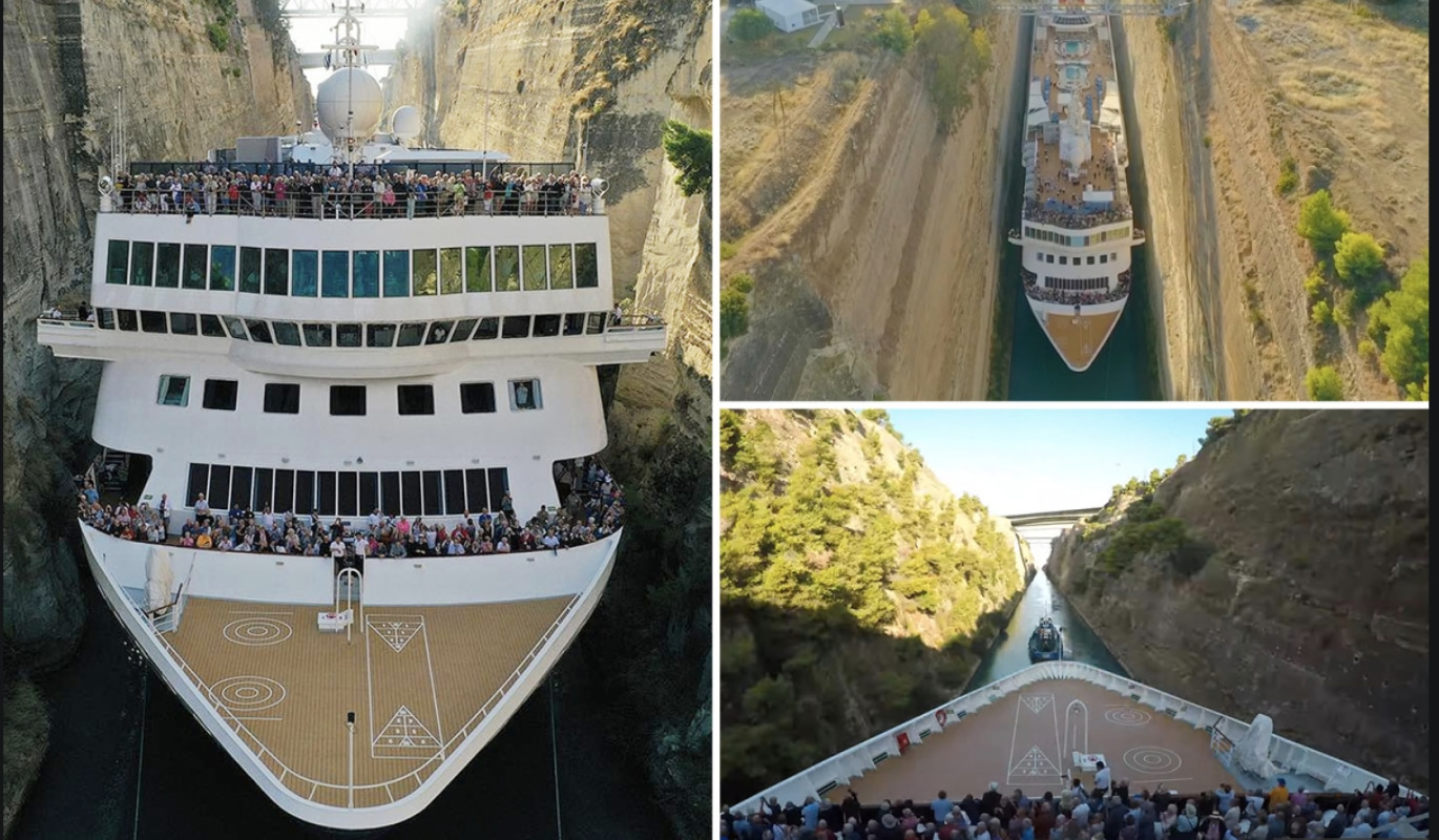 TIGHT SHIP: Cruise liner squeezes through tiny canal in Greece with just INCHES to spare