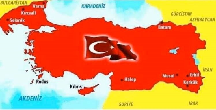 "Turkish ""defence"" minister posts map of Turkey that includes pieces of Syria, Iraq, Bulgaria, Greece, and all of Cyprus"