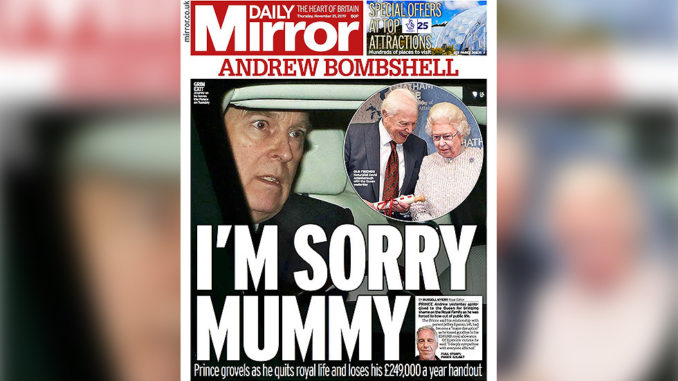 British Media Blast Prince Andrew As He Steps Down From Public Duties
