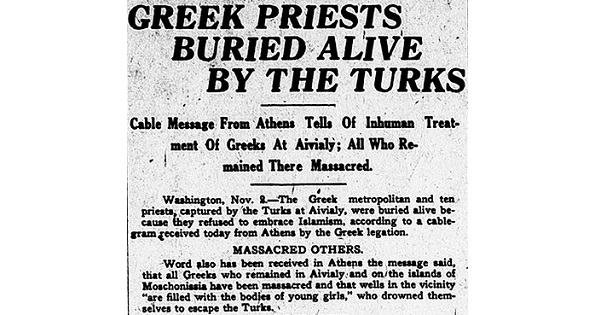 2 Nov 1922: Greek Priests Buried Alive by the Turks, Grand Forks Herald