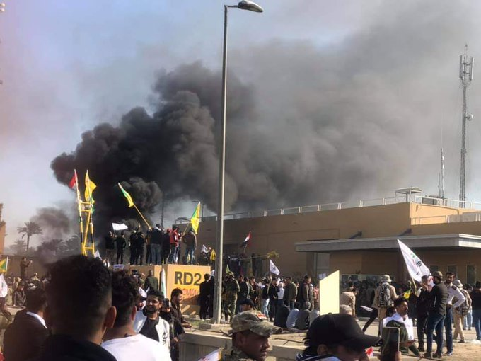 US EMBASSY ATTACK IN BAGHDAD PRO-IRAN MOB 'DEATH TO AMERICA' DIPLOMATS IN SAFE ROOM TRUMP: TEHRAN WILL PAY