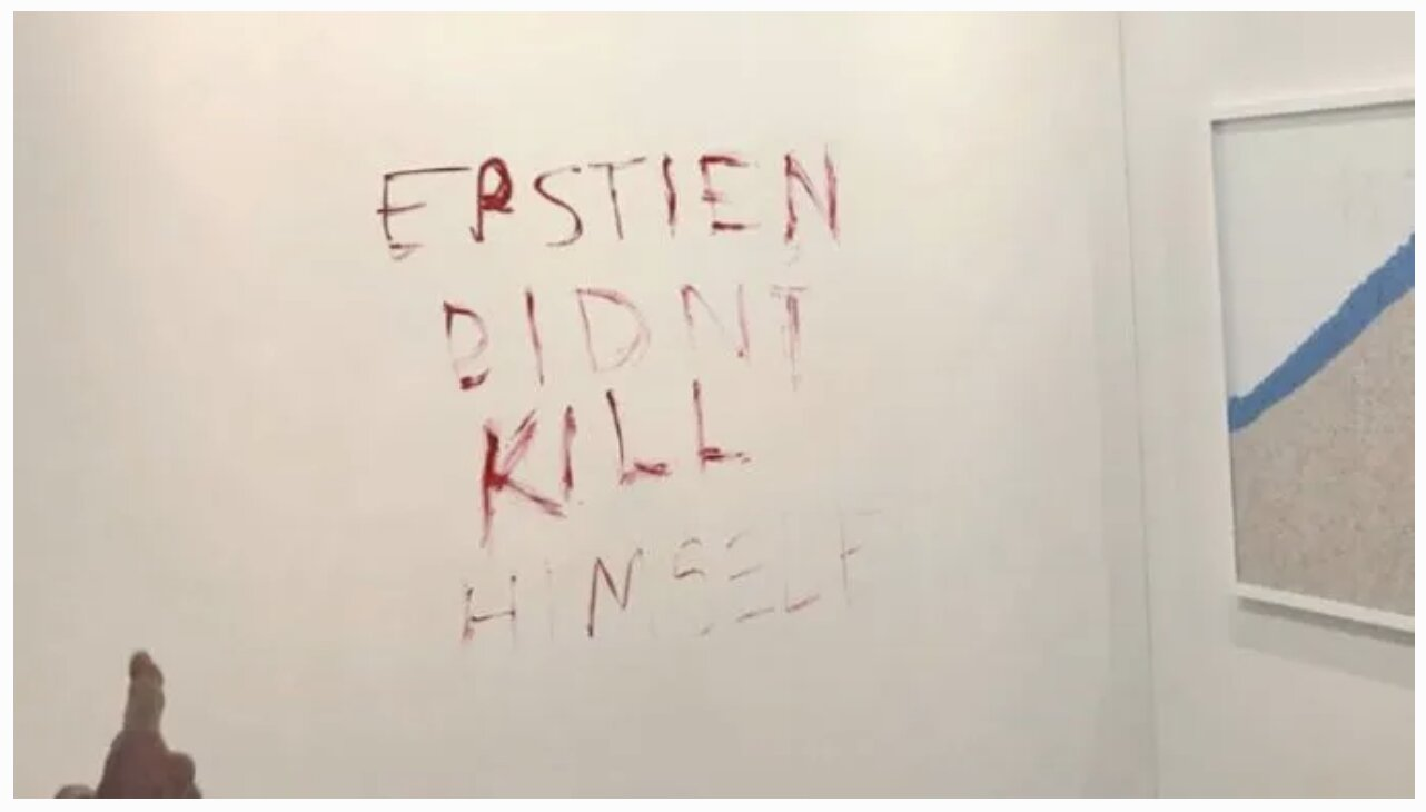 "Duct-Taped Banana 'Art' Replaced with ""Epstein Didn't Kill Himself"" Sign"