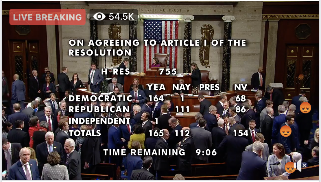 LIVE coverage: The House of Representatives votes on two articles of impeachment against President Donald Trump.