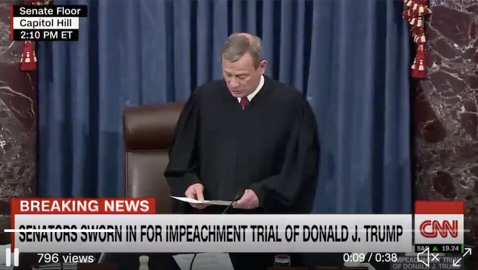 Chief Justice John Roberts swears in all 100 senators for the impeachment trial against President Trump.