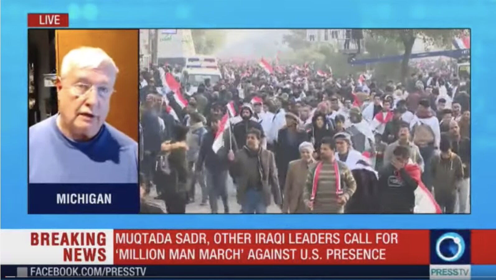 Total US Censorship: Demonstrations in Iraq for US Removal, Play by Play by co-Host Gordon Duff on Press TV