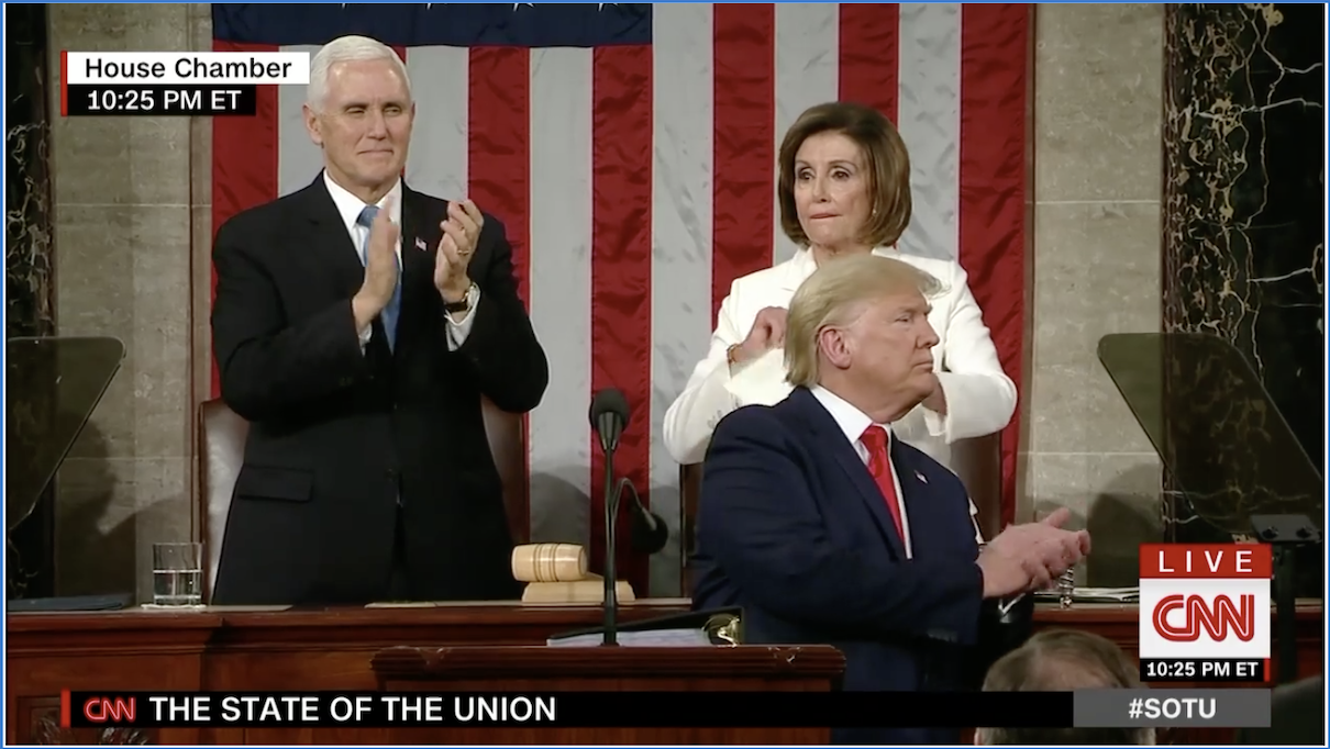Speaker of the House Nancy Pelosi ripped up her printed copy of President Trump's State of the Union address