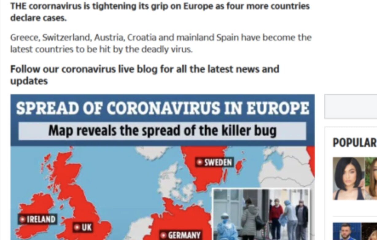 The Sun Newspaper posts fake news of corona virus in Greece
