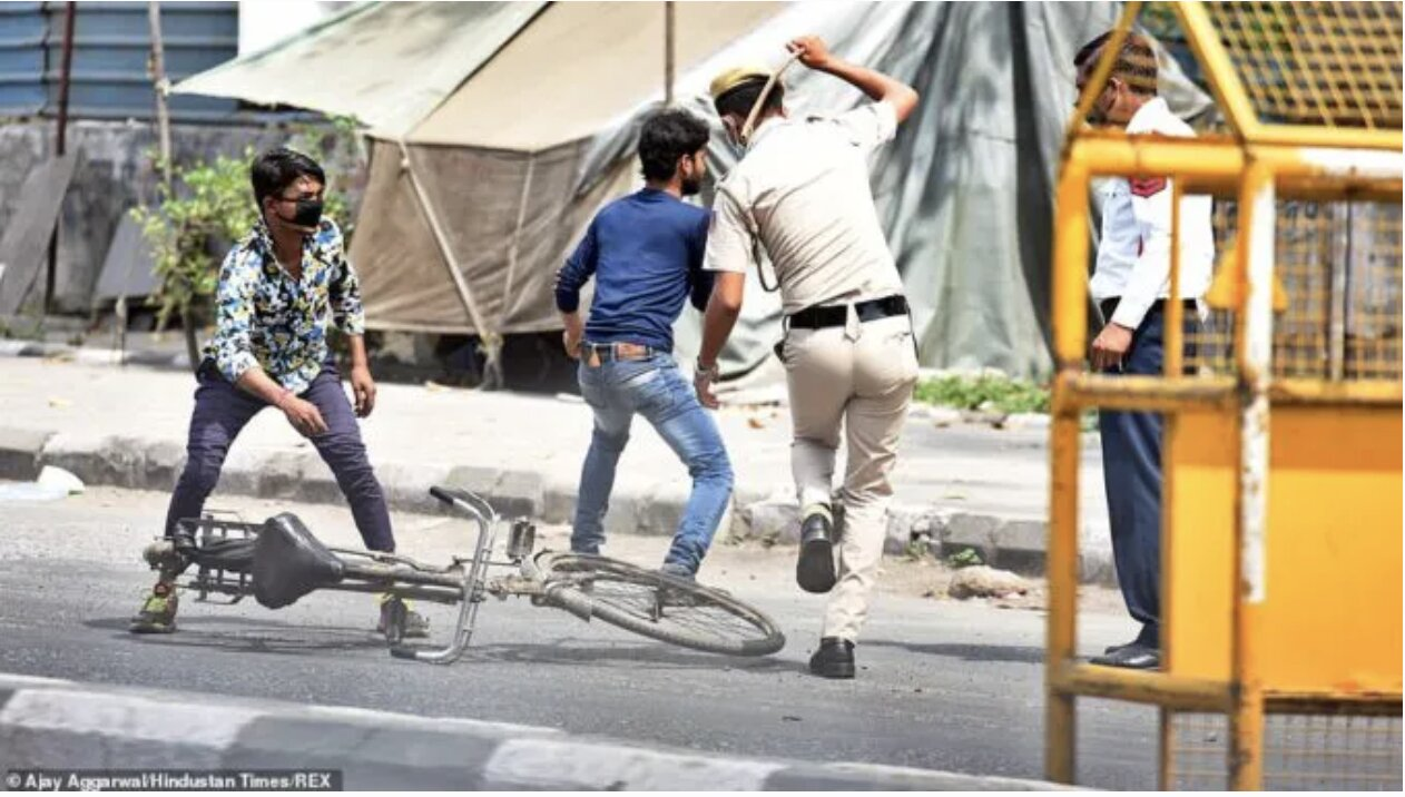 Police In India Beating Lockdown Violators