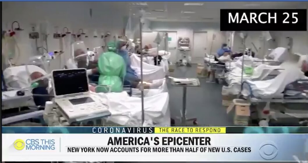 Coronavirus HOAX: CBS busted claiming footage of coronavirus patients in New York hospital but footage from Italy.