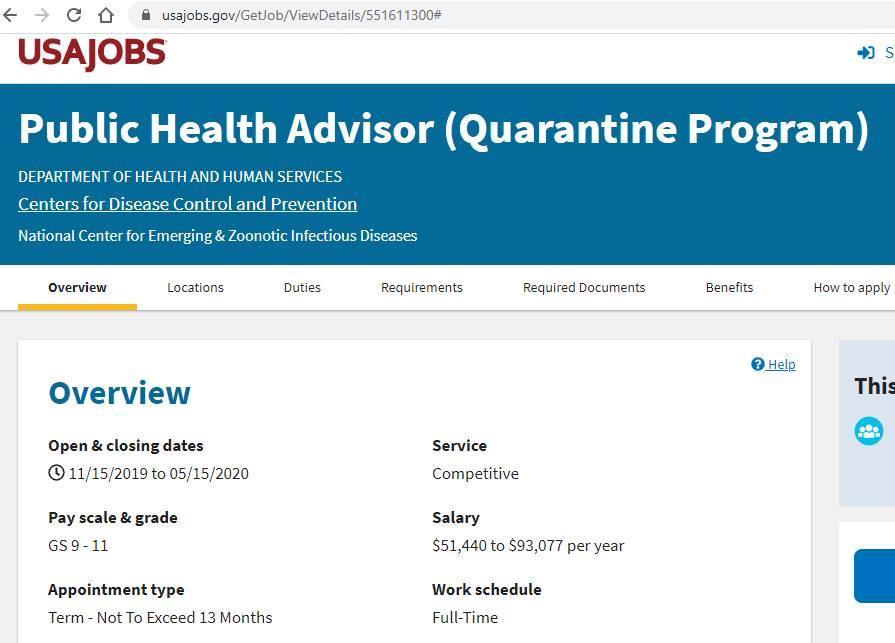 "Coronavirus: Department of Health and Human Services jobs for ""Quarantine Program"" were first posted in November 2019!!!"