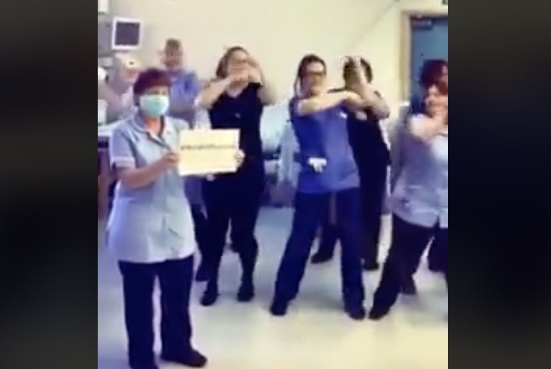 "Healthcare workers dancing and fooling around while people are ""dying"" from the ""coronavirus""!"