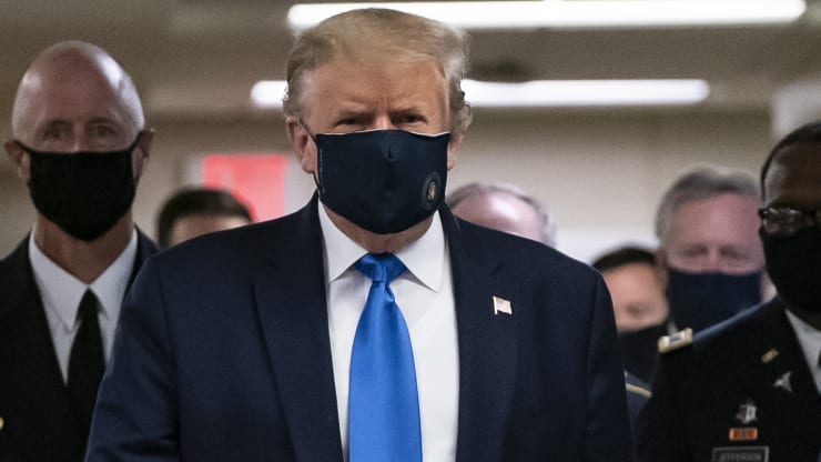 Trump CAVES to the pressure: Trump now says face masks are 'patriotic' after months of largely resisting wearing one