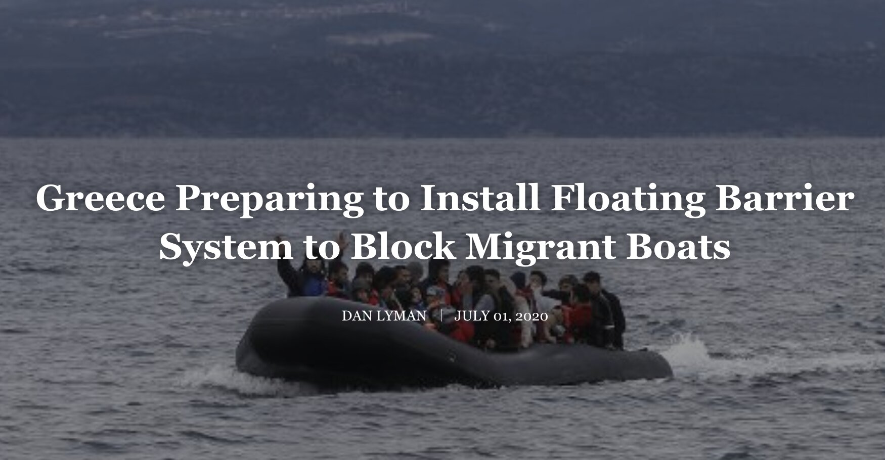 Greece Preparing to Install Floating Barrier System to Block Migrant Boats