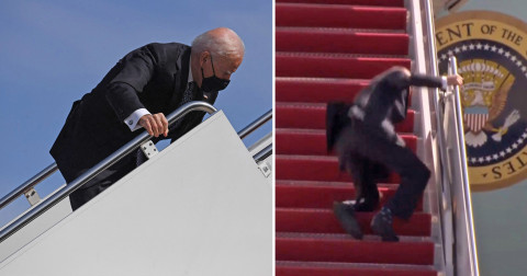 Watch: Biden Repeatedly Falls While Climbing Air Force One Stairs