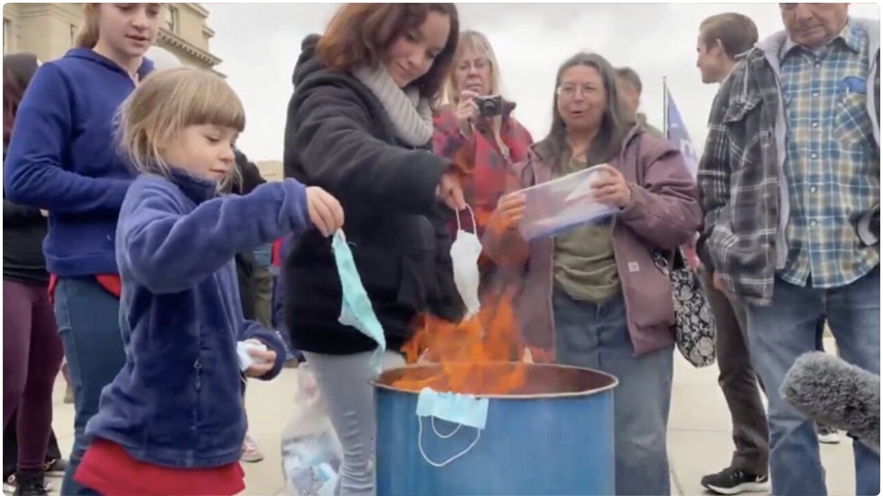 Video: Families Burn Masks Outside State Capitol To Protest Lockdowns — Liberals Melt Down