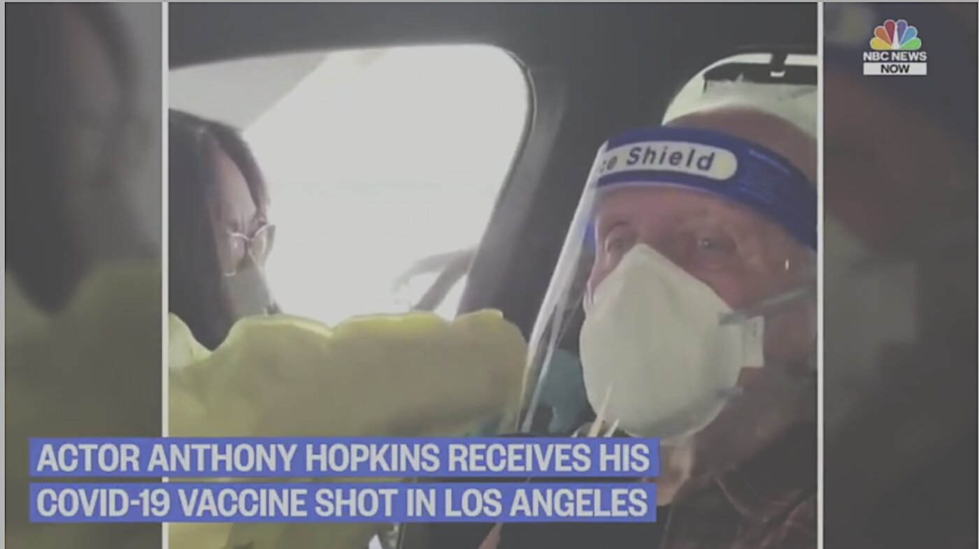 Nurse fakes giving Actor Anthony Hopkins his vax, and then shoots the vax out the window